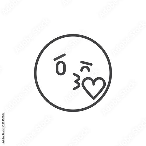 Kissing Emoticon Outline Icon Linear Style Sign For Mobile Concept