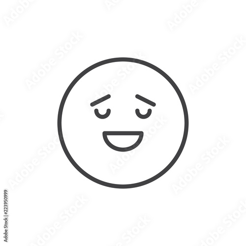 Calm Face Emoticon Outline Icon Linear Style Sign For Mobile