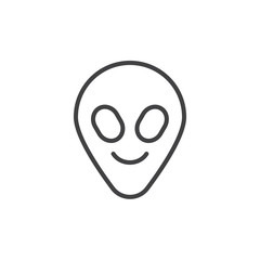 Alien face emoticon outline icon. linear style sign for mobile concept and web design. Humanoid head emoji simple line vector icon. Symbol, logo illustration. Pixel perfect vector graphics
