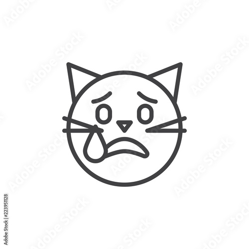 Crying Cat Emoticon Outline Icon Linear Style Sign For Mobile