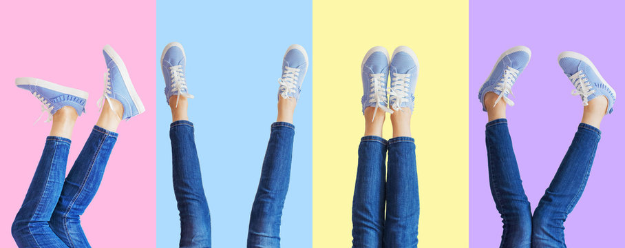 Collage of female legs in jeans and sneakers in the different poses on colored background, panorama