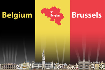 Vector illustration of Brussels city skyline with flag and map of Belgium on background