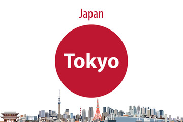Vector illustration of Tokyo city skyline with flag of Japan on background