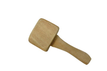 big and heavy wooden hammer on white background