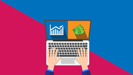 Laptop with banknote and financial stock market in trendy flat style isolated on red and blue background for technology and business concept.