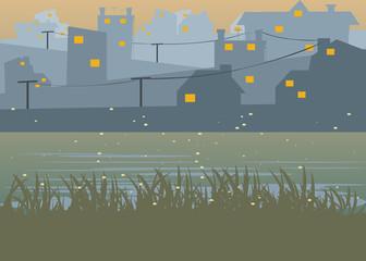 city at Riverside pastel colour background vector illustration