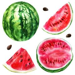 Watercolor illustration, set. Watermelon, half a watermelon, a piece of watermelon, a slice of watermelon.