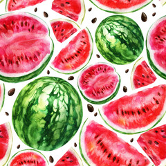 Watercolor illustration, pattern. Watercolor watermelon, pieces of watermelon