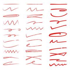 hand drawn underlines, red brush lines