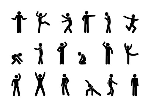 set of man icons, various poses and movements, silhouette figure stick, human pictograph