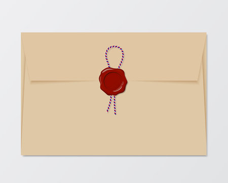 Illustration of old envelope with red wax seal and colored string, isolated on white background