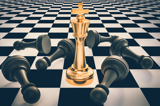 Golden King and many fallen pawns - chess leadership concept