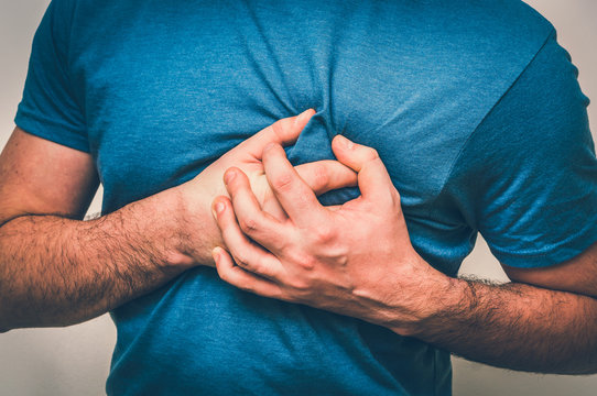 Man having chest pain, heart attack