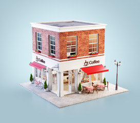 Unusual 3d illustration of a cozy cafe