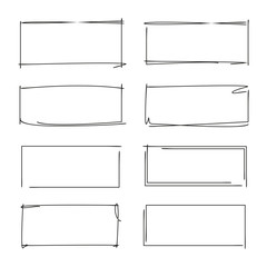 hand drawn rectangle frames, grunge border set, grunge frame