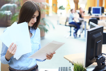 Concentrated business lady comparing documents at office.