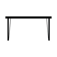 A black and white silhouette vector of a table