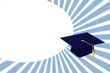 Flat design business Vector Illustration concept Empty template copy space Posters coupons promotional material. Graduation hat with Tassel Scholar Academic cap Headgear for Graduates