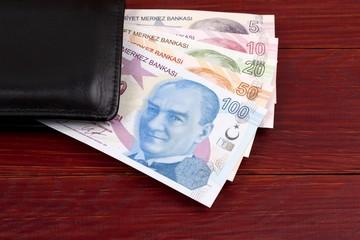 Turkish Lira in the black wallet