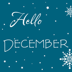Colorful illustration with the text Hello December written among snowflakes