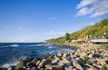 View of fishing hamlet on west coast of Bornholm island - Teglkas, Denmark