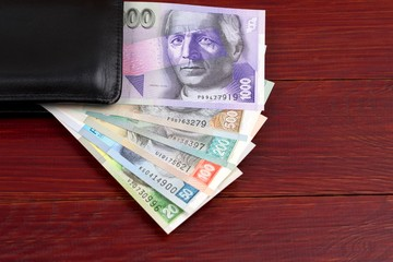 Slovak Koruna in the black wallet