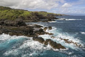 Beautiful aerial view of rugged Maui, Hawaii coastline.