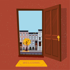 Open door into autumn rain city day sunny view with yellow trees. Door mat in room. Flat cartoon textured bown vector illustration. Three-four-story uneven colorful houses. Street cityscape.