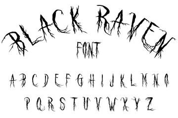 black raven halloween font