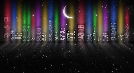 Night city, neon light.