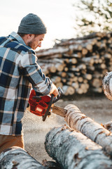 Bearded brutal lumberjack wearing plaid shirt sawing tree with chainsaw for work on sawmill. Wooden sawdust fly apart. Vertical