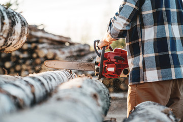 Close-up view on Professional strong lumberman wearing plaid shirt use chainsaw on sawmill. Strong logger worker sawing a big tree