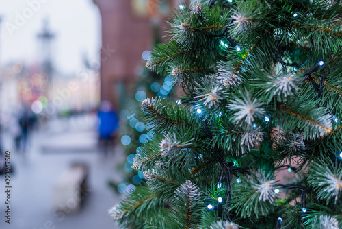 Artificial Christmas Tree Branches.Christmas Street Decorations From Artificial Christmas Tree