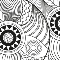 Square pattern on white. Zentangle. Hand drawn mandala on isolated background. Design for spiritual relaxation for adults. Print for flyers and banners. Black and white illustration for coloring