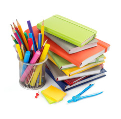office and school supplies at white background