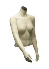 MANNEQUIN OF NUDE FEMALE TORSO ON WHITE BACKGROUND