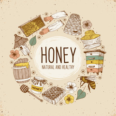 Hand drawn apiary objects arranged in circle composition. Beekeeping inventory in sketch style. Vector Illustration.