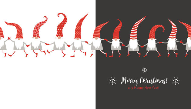 Christmas Card, Seasons greetings , cute Christmas gnomes in red hats, seamless illustration