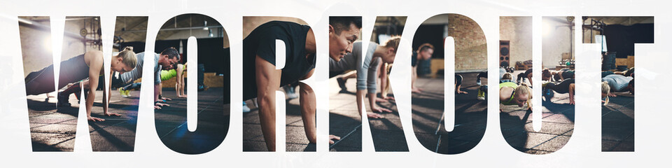 Collage of people doing pushups together during a gym workout Wall mural