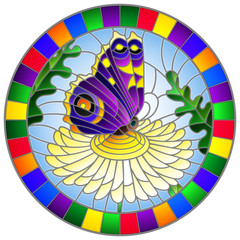 Illustration in stained glass style with a bright purple butterfly on a yellow flower, round image in a bright frame