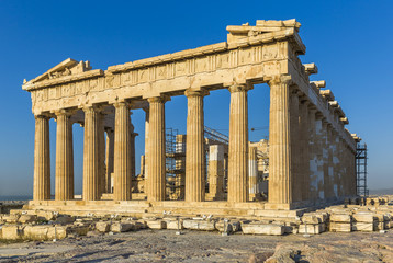 The Parthenon on the Athenian Acropolis with blue sky in the background
