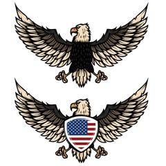Illustration of eagle with american flag. Design element for poster, flyer, emblem, sign.
