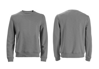 Men's long sleeve t-shirt with front and back views isolated on white with clipping path