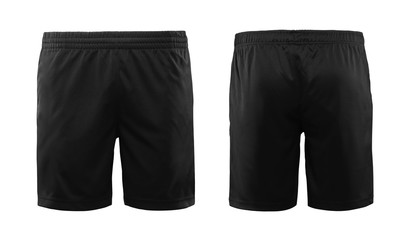 Black sport shorts isolated on white background with front and back view. Fototapete