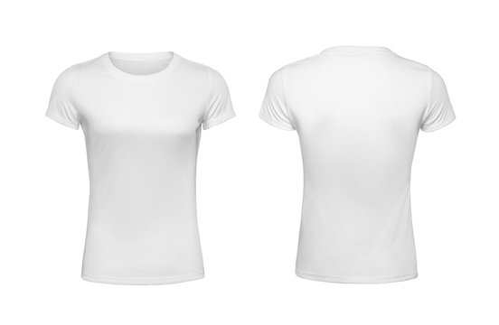 Women shirt design templates back and front view isolated on white