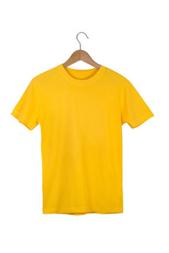Yellow Blank Cotton Tshirt with wooden hanger isolated on white with clipping path