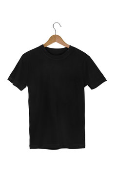 Black Blank Cotton Tshirt with wooden hanger isolated on white with clipping path