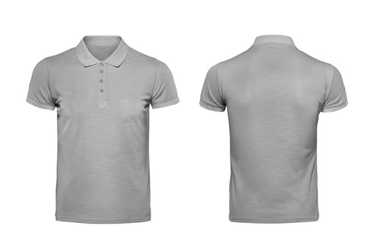 Grey polo tshirt design template isolated on white with clipping path