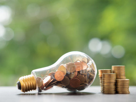 Energy saving. stacks of coins in light bulb and tree nature background. Saving, accounting and financial concept.