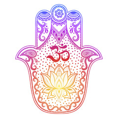 "Colorful Hamsa hand drawn symbol with flower. Decorative pattern in oriental style for interior decoration and henna drawings. The ancient sign of ""Hand of Fatima""."